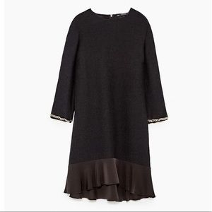 Zara Ribbed Dress With Cuff Detail